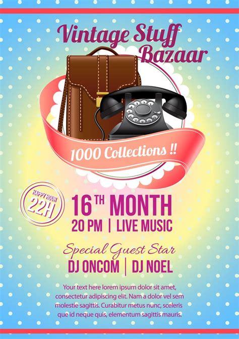 Vintage Stuff Bazaar Flyer Template Vector Free Download Bazaar Flyer Template