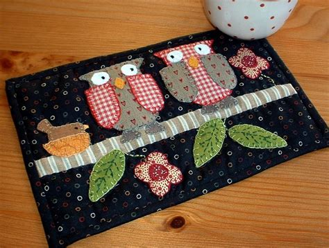 Patchwork Mug Rugs - two owls mug rug owl patterns and patchwork