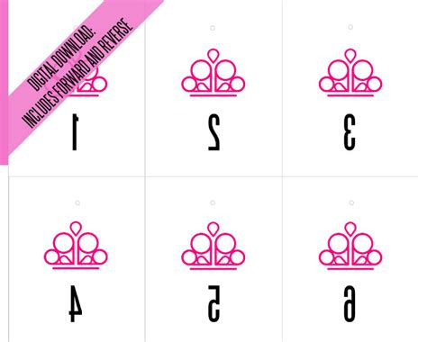 Printable Numbers For Paparazzi | paparazzi forward and reverse mirror image pink crown