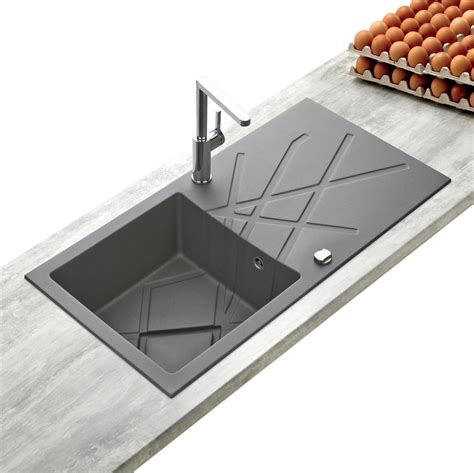 Evier Design Cuisine by Evier Design En Granit Gris 1 Bac K 252 Mbad Curuba