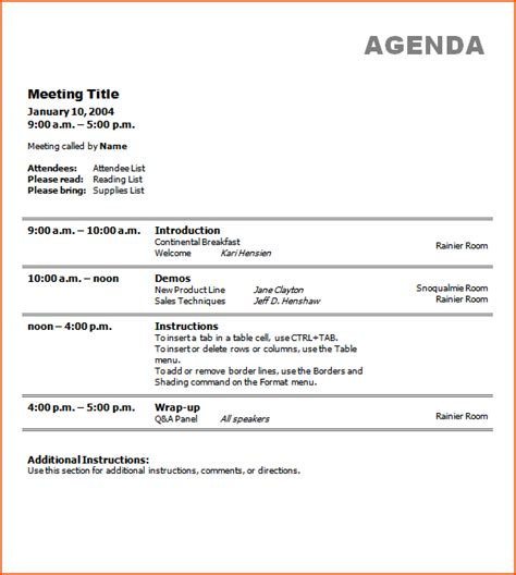 7 Free Meeting Agenda Template Bookletemplate Org Corporate Meeting Template