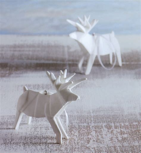 How To Make A Paper Deer - how to origami reindeer porcelain tree ornaments set of 2