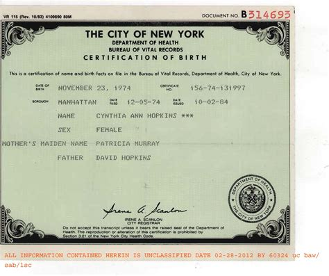 Russian Birth Records Fbi Fraudulent Birth Certificate Of Cynthia