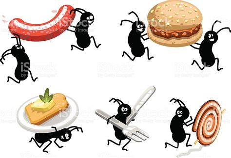 carrying food picnic ants carrying bbq food away stock vector 164457146 istock