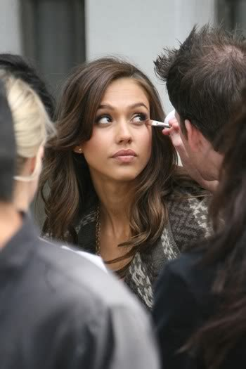 Alba Filming Revlon Commercial by Alba Takes A
