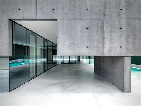 glass and concrete house concrete and glass home in urgnano italy