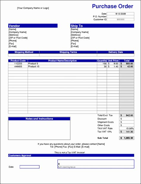 purchase order example excel printable purchase order template