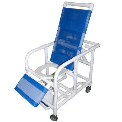 reclining commode chair reclining pvc commode shower chair with legrest and