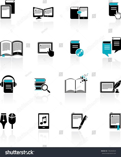 e book icon design stock vector image 49331229 collection ebook audiobook literature icons stock vector