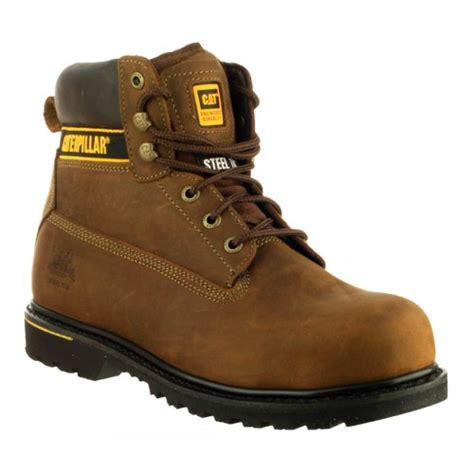 Cut Engineer Safety Boots Holton Suede Leather Brown Sepatu Pria Caterpillar Holton S3 Brown Safety Boots Charnwood
