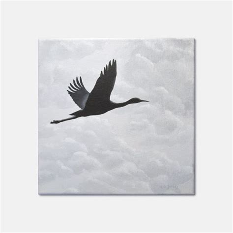 acrylic painting birds in sky bird silhouette painting crane in flight with cloudy sky