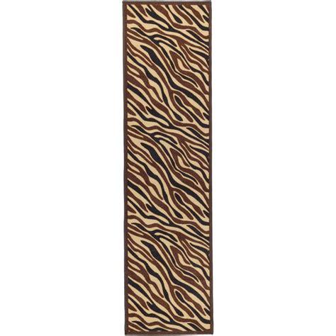 Zebra Print Runner Rug by Non Skid Ottohome Brown Animal Print Zebra Runner Rug 1 8