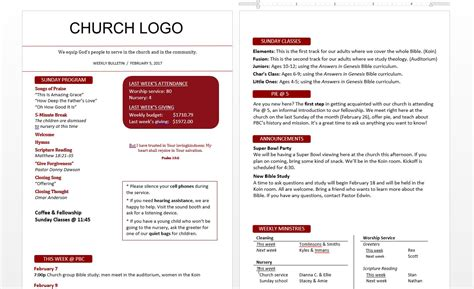 church bulletin template free ideas for church bulletins