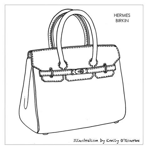 Drawing Bag Pattern | hermes birkin bag designer handbag illustration