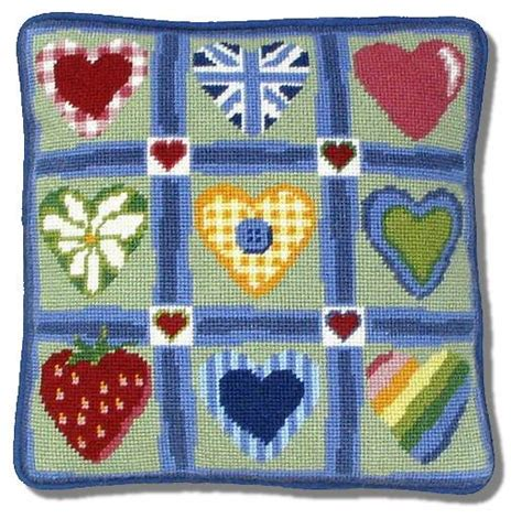 Patchwork Cushion Kits - one patchwork hearts tapestry kit