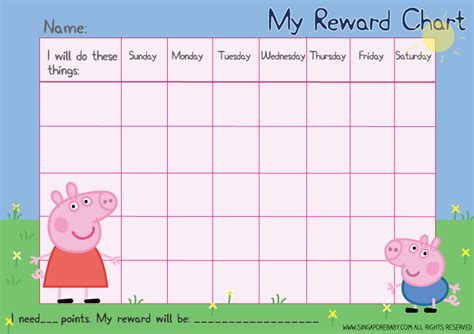 printable rewards charts picture of the peppa pig reward chart download the free