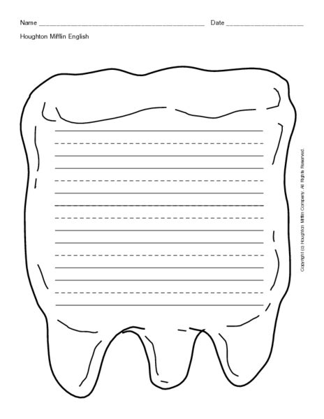 tooth writing template blank writing lines in tooth shape printables template
