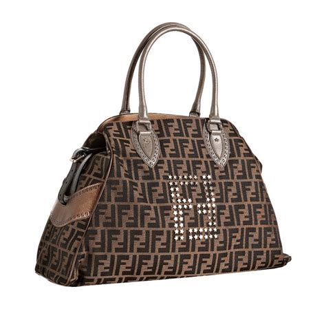 And Fendi Zucca For American Eagle by Lyst Fendi Tobacco Zucca Studded Large Bag De Jour Tote