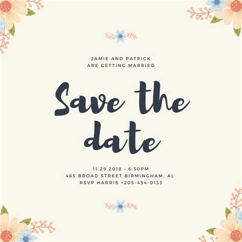 Customize 4 983 Save The Date Invitation Templates Online Canva Save The Date Website Template