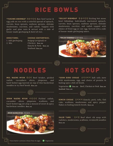 menu design korean korean food menu design food