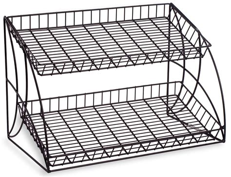 Wire Rack by Black Countertop Wire Metal Rack 2 Shelving Tiers