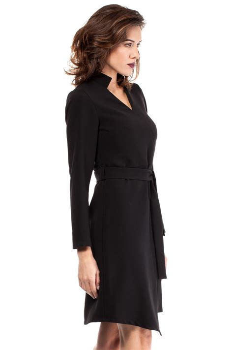 wrap around black wrap around asymmetrical dress