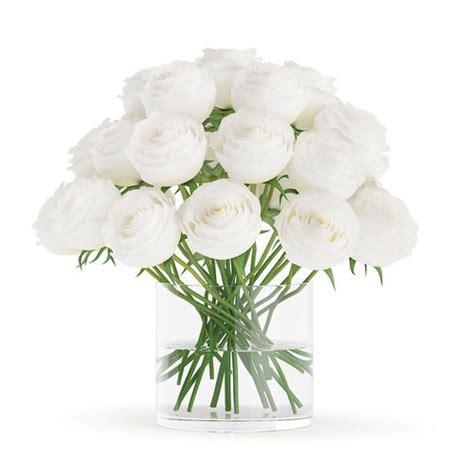 White Roses In Vase by 3d Model White Roses In Glass Vase Cgtrader