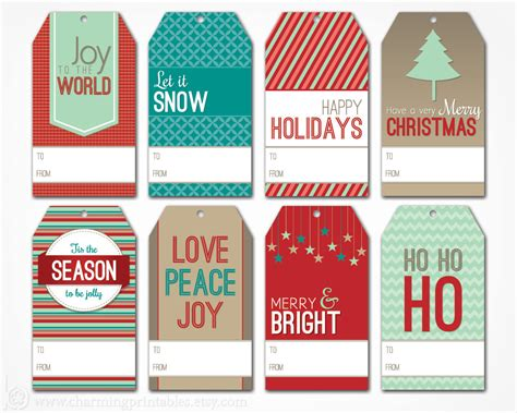 printable christmas gift tags digital  file instant