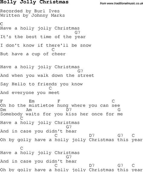 The Pattern Jolly Lyrics | christmas songs and carols lyrics with chords for guitar