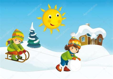 imagenes animadas invierno dibujos animados de invierno con los ni 241 os fotos de