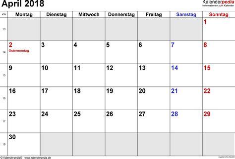 Kalender 2018 April Mai Kalender April 2018 Als Word Vorlagen