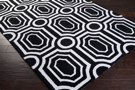 black and white rug black and white geometric hudson park rug by surya