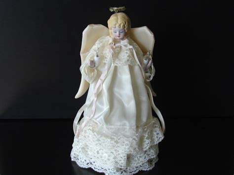 vintage lighted porcelain angel tree topper