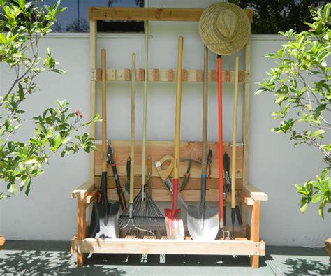 Gardening Rack Garden Tool Rack With Foldable Bench 4