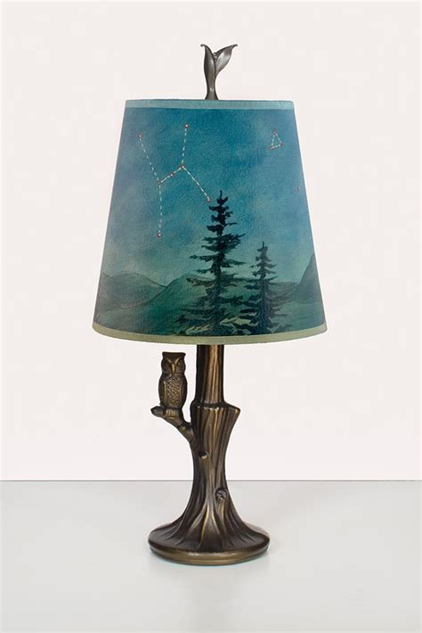 bronze owl l with small drum shade in midnight sky by