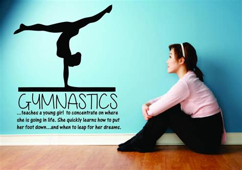 Gymnastics Wall Stickers gymnastics teaching a young girl large wall decal