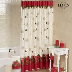 lenox poinsettia tartan holiday shower curtain
