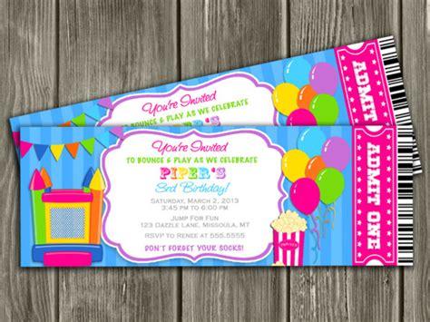 printable bounce house invitations printable girl bounce house ticket birthday invitation