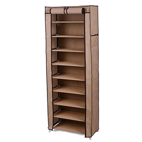Songmics 10 Tiers 27 Pairs Shoe Rack Closet With Cover