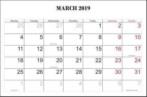 march 2019 calendar word blank march 2019 calendar printable template editable pdf