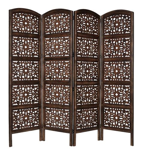 Wooden Screen Room Divider Handcrafted Wood Room Divider Folding Screen Antique Brown Carved 4 Panels 72x80 Ebay
