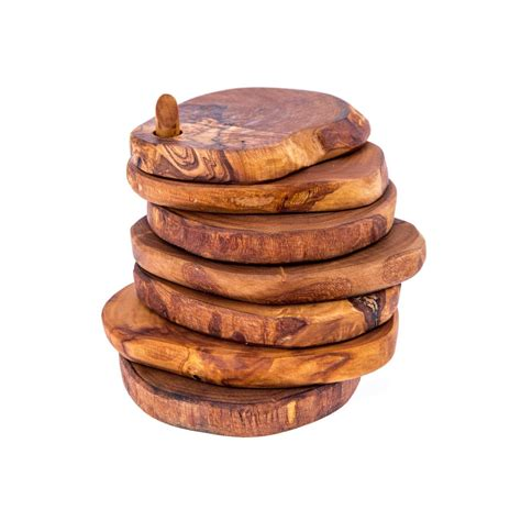 Olive wood serving accessories handmade wooden rustic drink coasters set of 6 with base