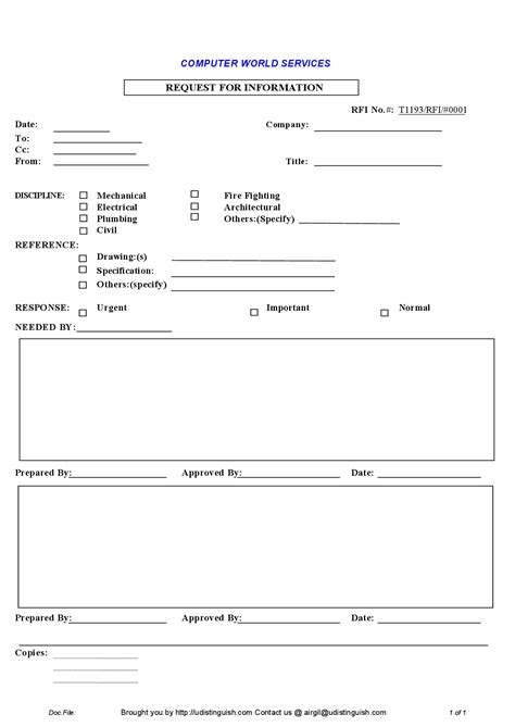request for information rfi template best photos of request for information template