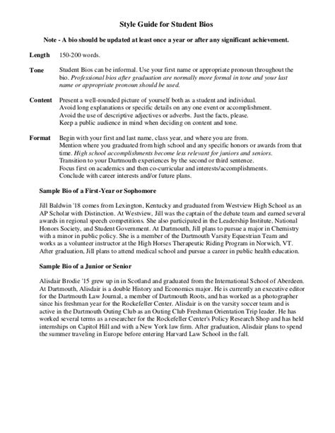 biography template for students sle student bio