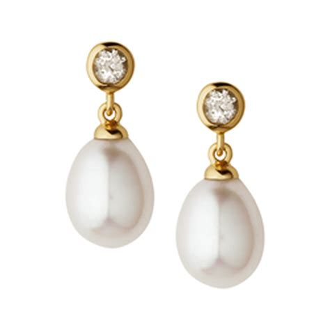 Drop Earring pearl drop earrings freshwater pearl drop gold earrings