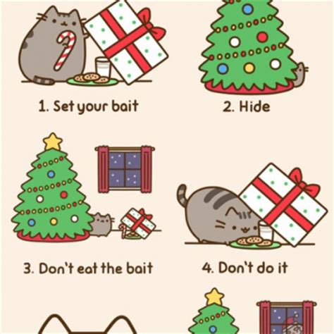 pusheen cat christmas to do list cat attempts to catch a santa on christmas pusheen comics