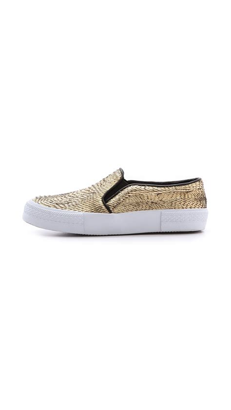 the salad x steve madden nyc slip on sneakers in gold lyst