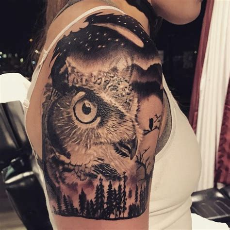 owl tree tattoo designs owls black and white