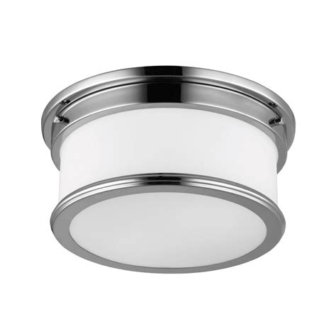 deco style flush fitting bathroom ceiling light chrome