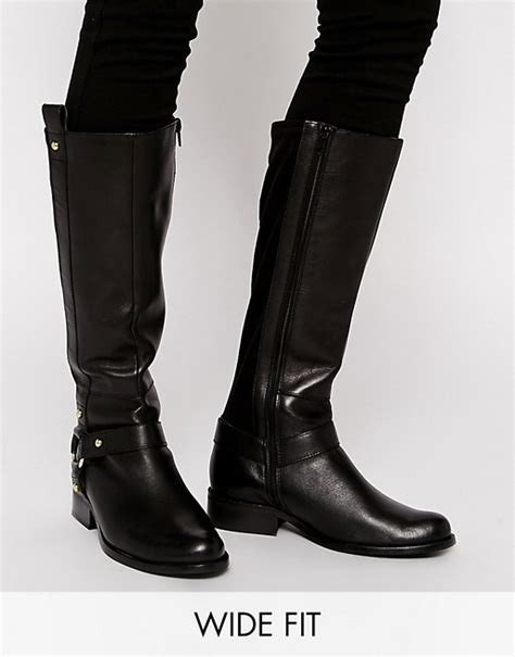 asos asos c mon wide fit leather knee high boots